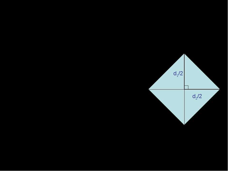 Наслідок №2 Площа ромба дорівнює половині добутку його діагоналей: S=1/2d1d2,...