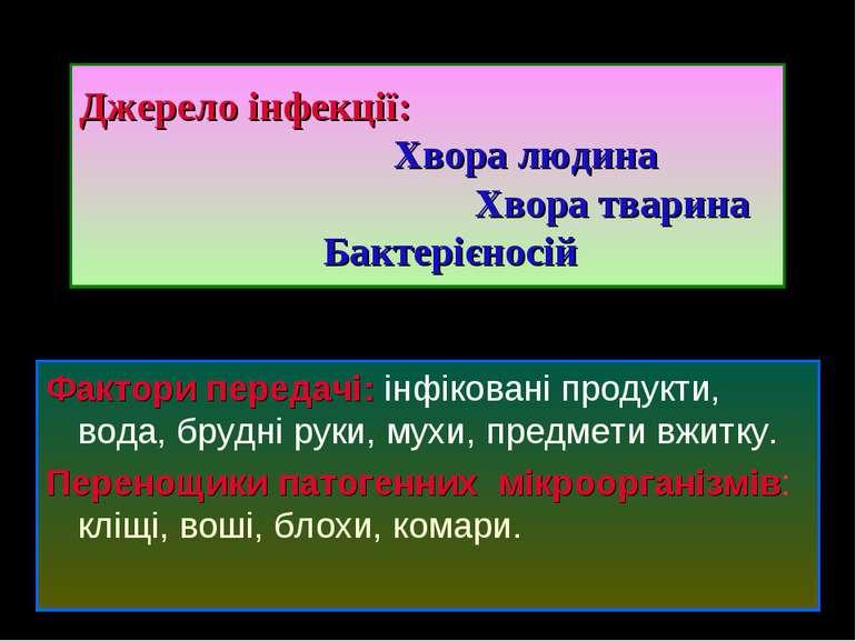 Джерело інфекції: Хвора людина Хвора тварина Бактерієносій Фактори передачі: ...