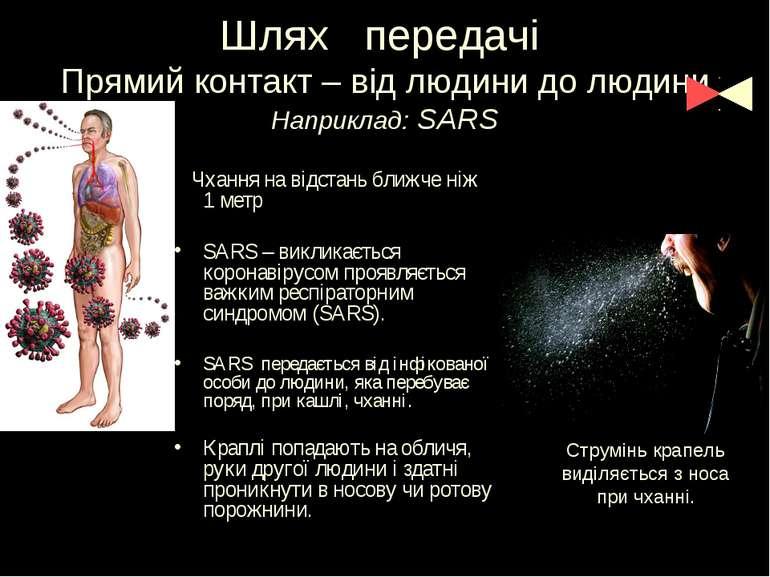 Шлях передачі Прямий контакт – від людини до людини Наприклад: SARS Чхання на...
