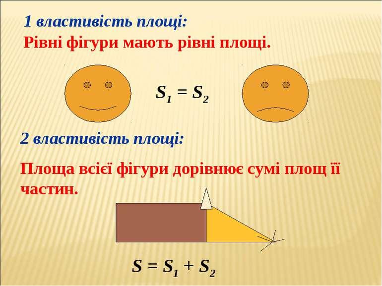 1 властивість площі: Рівні фігури мають рівні площі. 2 властивість площі: Пло...