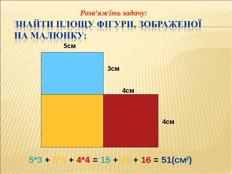 5см 3см 4см 4см 5*3 + 5*4 + 4*4 = 15 + 20 + 16 = 51(см2) Розв'яжіть задачу: