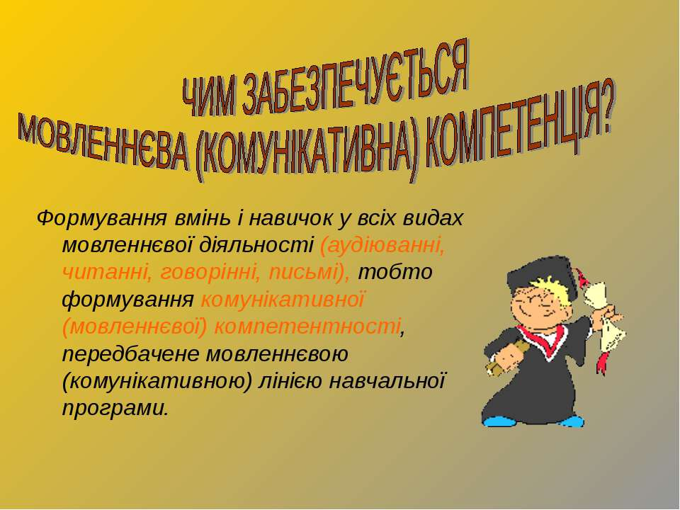 Формування вмінь і навичок у всіх видах мовленнєвої діяльності (аудіюванні, ч...