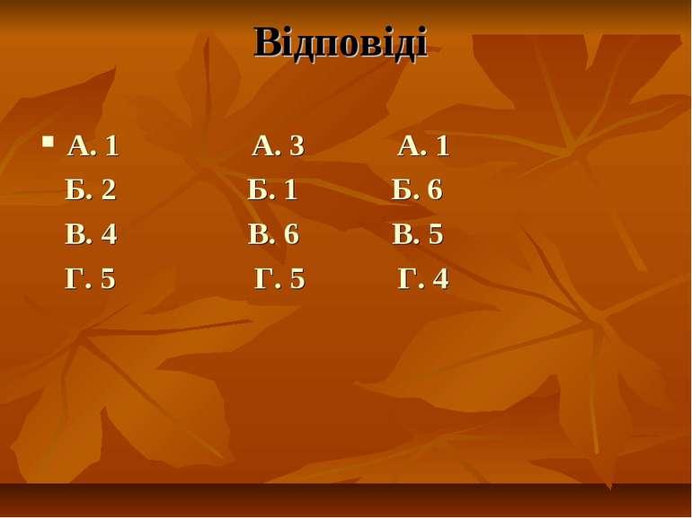 Відповіді А. 1 А. 3 А. 1 Б. 2 Б. 1 Б. 6 В. 4 В. 6 В. 5 Г. 5 Г. 5 Г. 4