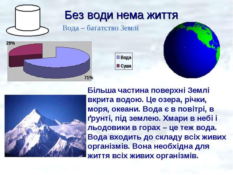 Без води нема життя Більша частина поверхні Землі вкрита водою. Це озера, річ...