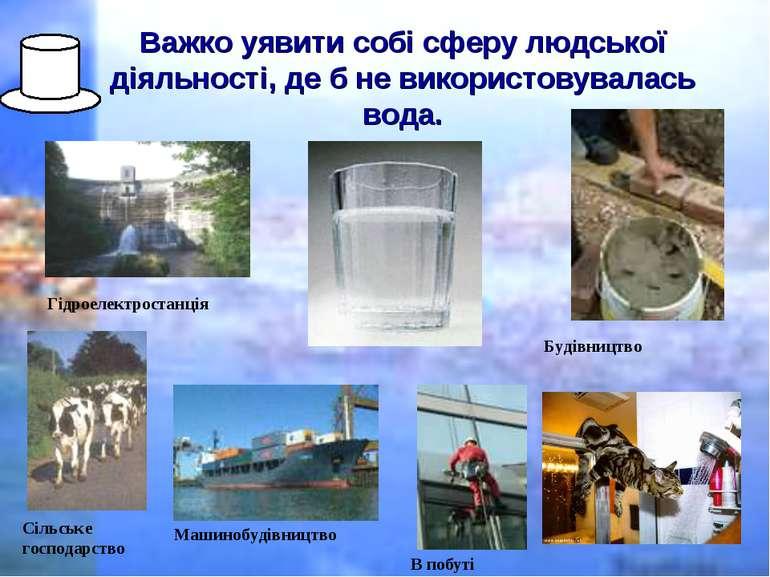 Важко уявити собі сферу людської діяльності, де б не використовувалась вода. ...