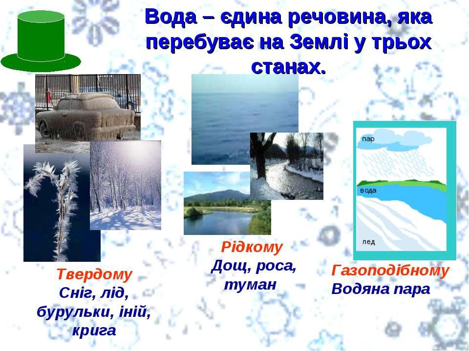 Вода – єдина речовина, яка перебуває на Землі у трьох станах. Твердому Сніг, ...