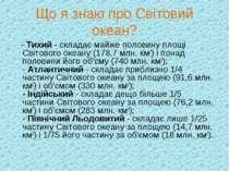 Що я знаю про Світовий океан? - Тихий - складає майже половину площі Світовог...