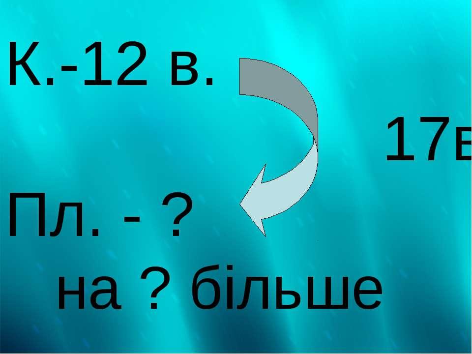 К.-12 в. 17в. Пл. - ? на ? більше