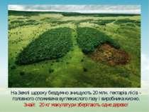 На Землі щороку бездумно знищують 20 млн. гектарів лісів – головного споживач...