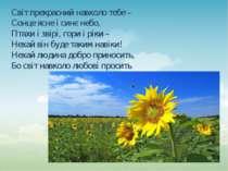 Світ прекрасний навколо тебе – Сонце ясне і синє небо, Птахи і звірі, гори і ...