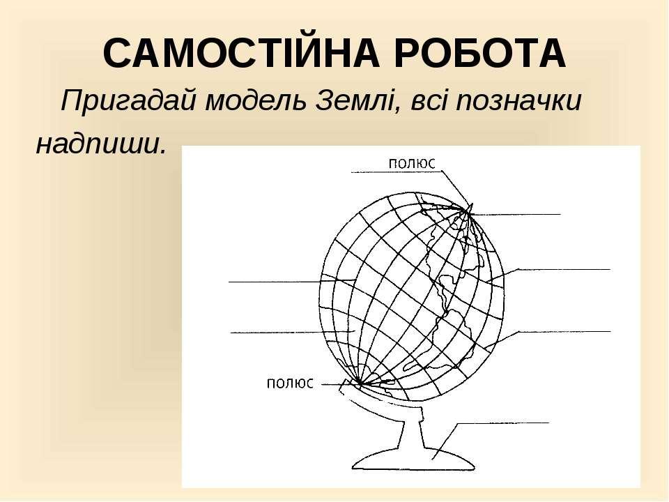 САМОСТІЙНА РОБОТА Пригадай модель Землі, всі позначки надпиши.