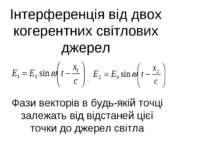 Інтерференція від двох когерентних світлових джерел Фази векторів в будь-якій...