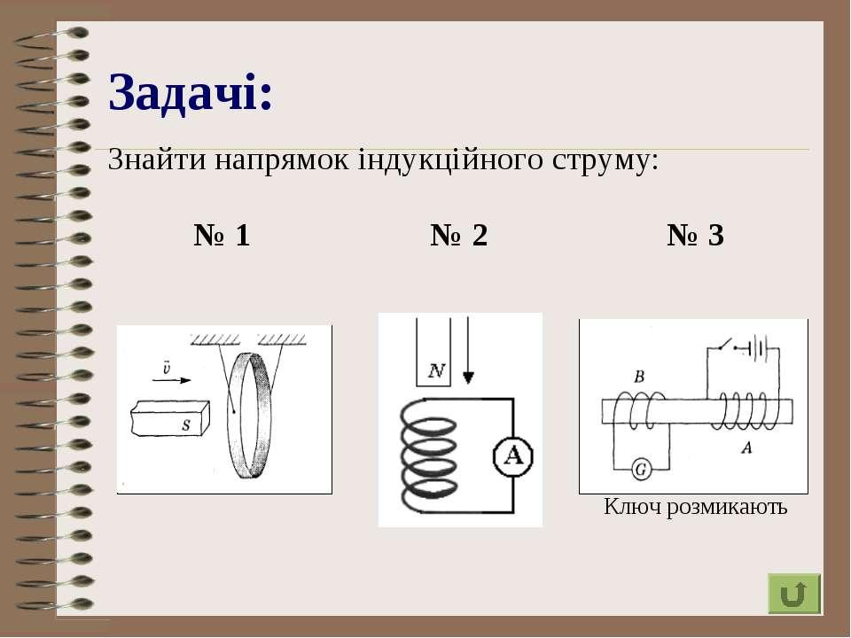 Задачі: Знайти напрямок індукційного струму: