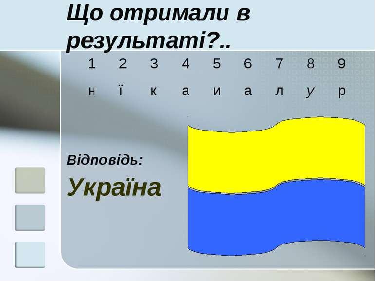 Що отримали в результаті?.. Відповідь: Україна 1 2 3 4 5 6 7 8 9 н ї к а и а ...