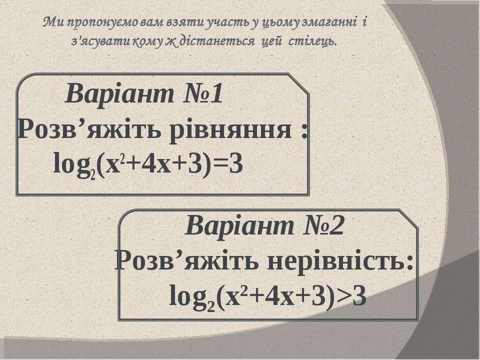 Варіант №1 Розв'яжіть рівняння : log2(х2+4х+3)=3     Варіант №2 Розв'яжіт...
