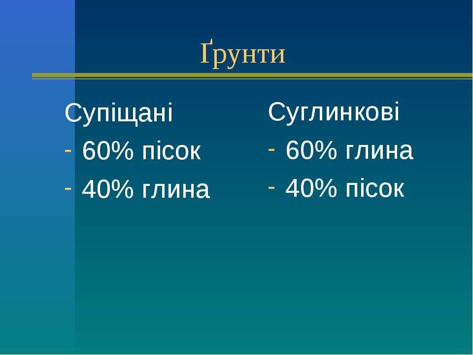 Ґрунти Супіщані 60% пісок 40% глина Суглинкові 60% глина 40% пісок