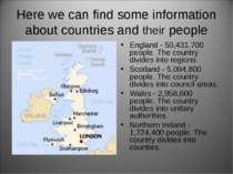 Here we can find some information about countries and their people England - ...