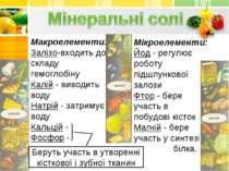 Макроелементи: Залізо-входить до складу гемоглобіну Калій - виводить воду Нат...