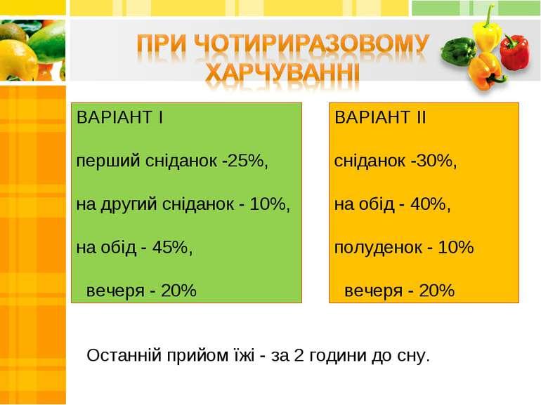 ВАРІАНТ I перший сніданок -25%,  на другий сніданок - 10%, на обід - 45%,  ...