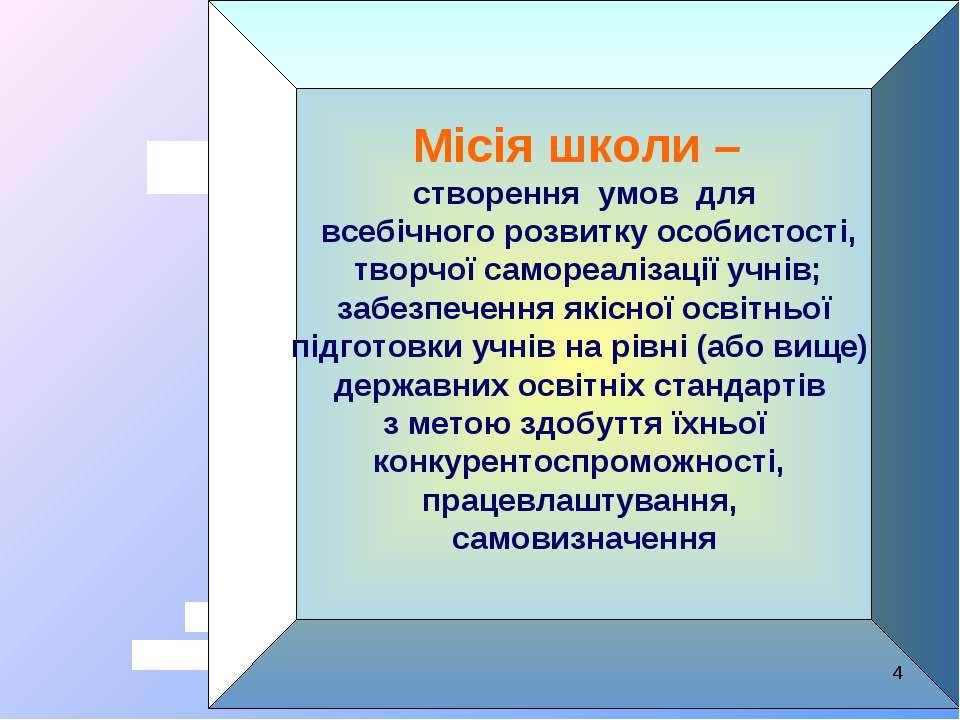 Місія школи – створення умов для всебічного розвитку особистості, творчої сам...