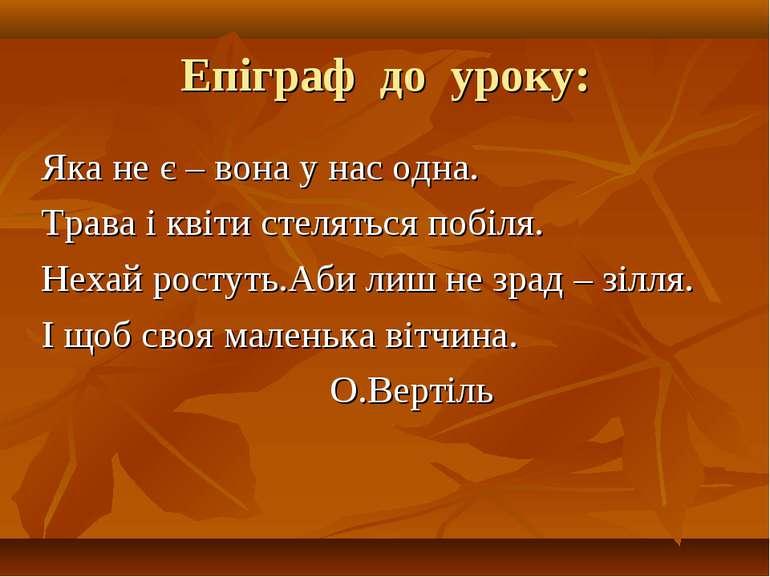 Епіграф до уроку: Яка не є – вона у нас одна. Трава і квіти стеляться побіля....