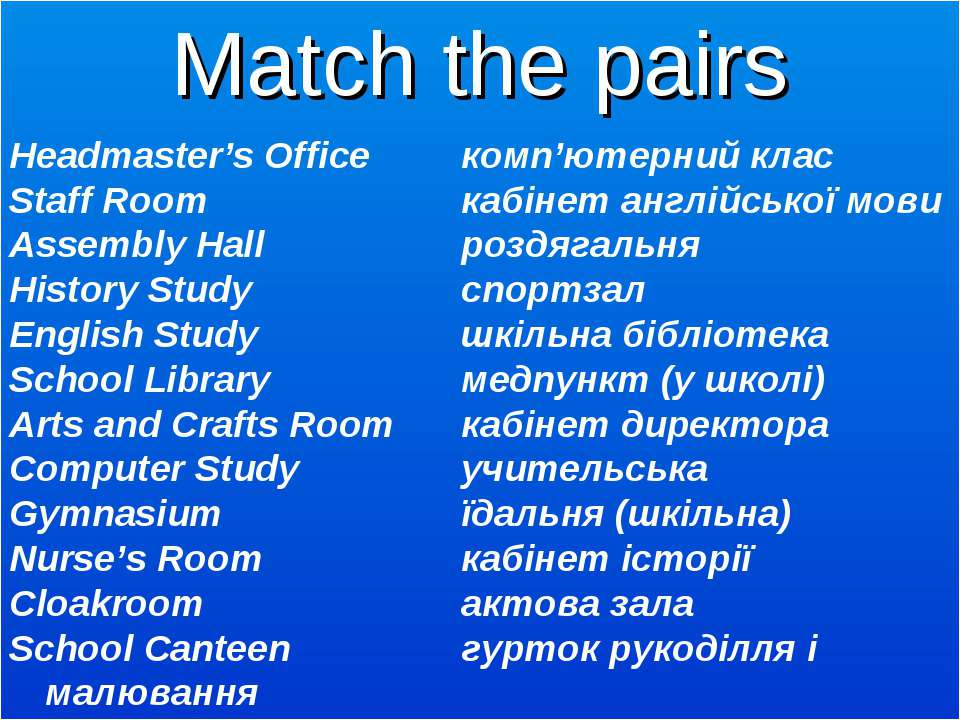 Headmaster's Office комп'ютерний клас Staff Room кабінет англійської мови Ass...