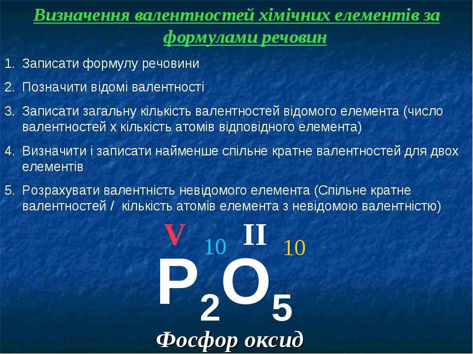 Фосфор оксид Визначення валентностей хімічних елементів за формулами речовин ...