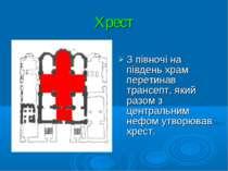 Хрест З півночі на південь храм перетинав трансепт, який разом з центральним ...