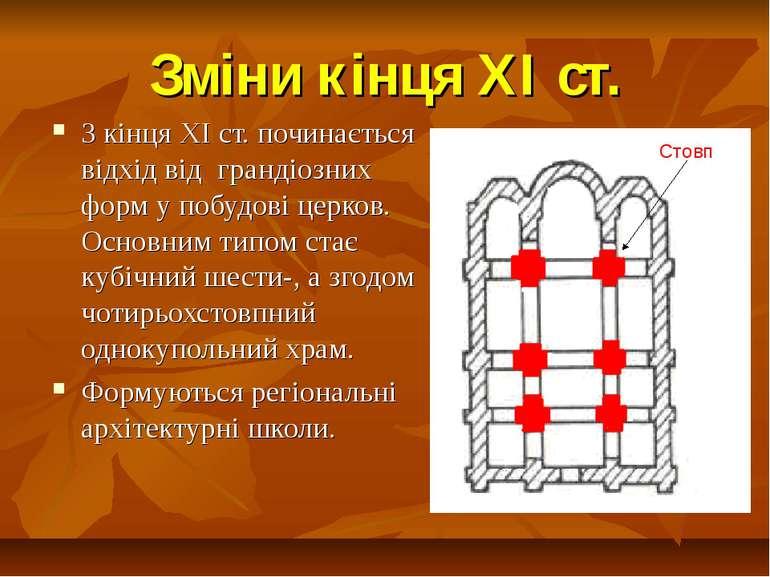 Зміни кінця ХІ ст. З кінця ХІ ст. починається відхід від грандіозних форм у п...