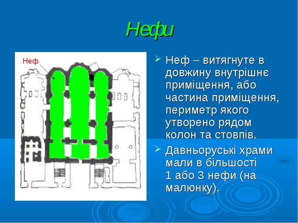 Нефи Неф – витягнуте в довжину внутрішнє приміщення, або частина приміщення, ...