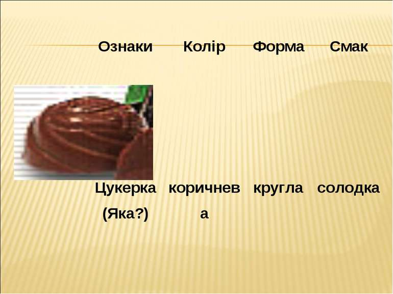 Ознаки Колір Форма Смак Цукерка (Яка?) коричнева кругла солодка