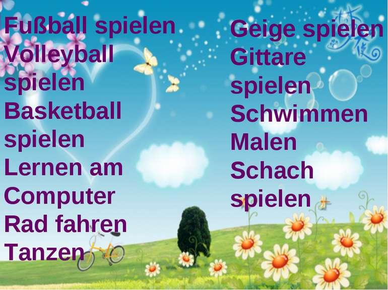 Fußball spielen Volleyball spielen Basketball spielen Lernen am Computer Rad ...