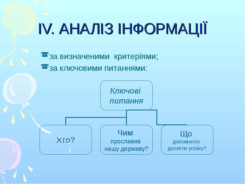 IV. АНАЛІЗ ІНФОРМАЦІЇ за визначеними критеріями; за ключовими питаннями: