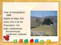 Year of Designation: 1999 Rights of Way: N/A Area: 375.4 sq km Population: n/...