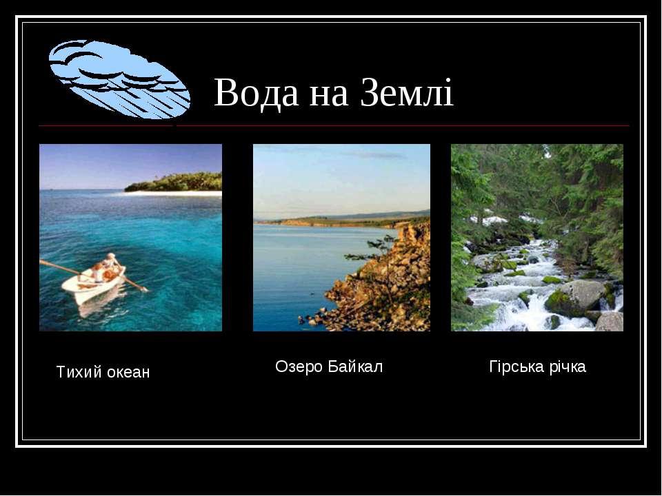 Вода на Землі Тихий океан Озеро Байкал Гірська річка