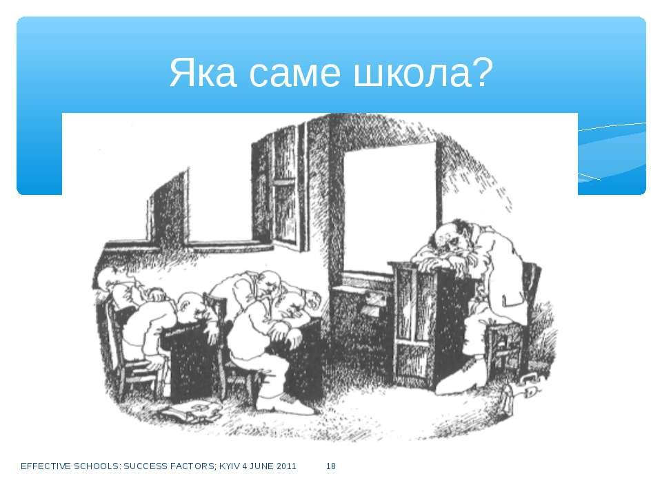 EFFECTIVE SCHOOLS: SUCCESS FACTORS; KYIV 4 JUNE 2011 * Яка саме школа? EFFECT...
