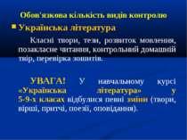 Обов'язкова кількість видів контролю Українська література Класні твори, тези...