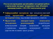 Результати проведення організаційно-методичної роботи у навчальних закладах і...