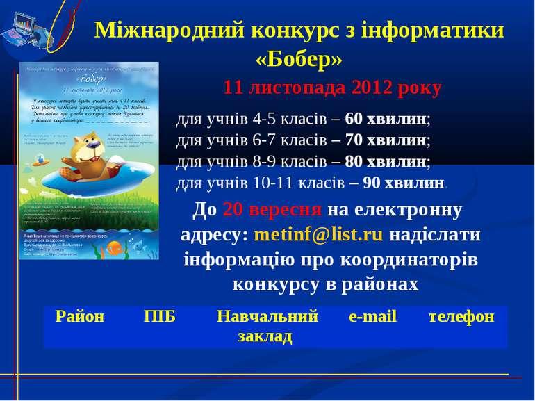• м Міжнародний конкурс з інформатики «Бобер» 11 листопада 2012 року для учні...