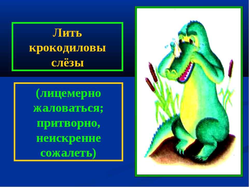 Лить крокодиловы слёзы (лицемерно жаловаться; притворно, неискренне сожалеть)
