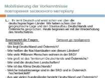 Mobilisierung der Vorkenntnisse повторення засвоєного матеріалу  L.: Ihr ler...