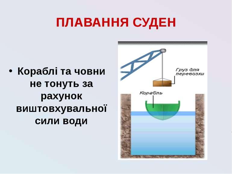 ПЛАВАННЯ СУДЕН Кораблі та човни не тонуть за рахунок виштовхувальної сили води