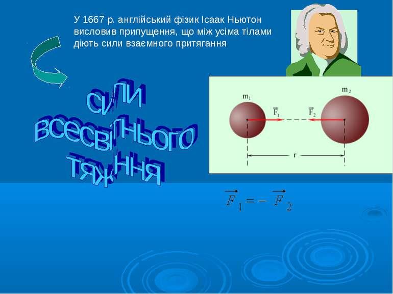 У 1667 р. англійський фізик Ісаак Ньютон висловив припущення, що між усіма ті...