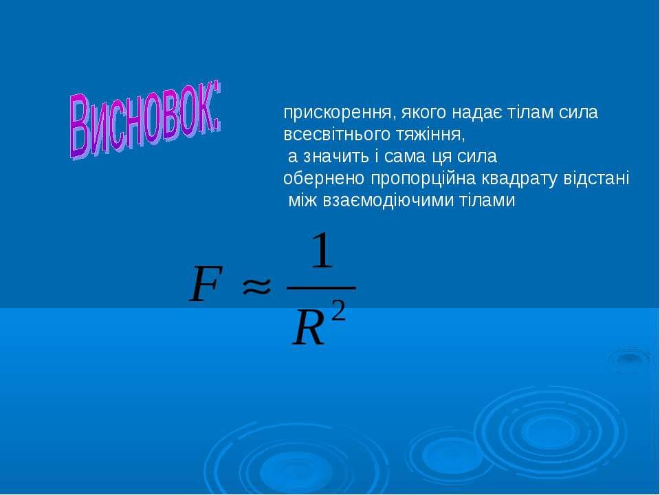 прискорення, якого надає тілам сила всесвітнього тяжіння, а значить і сама ця...