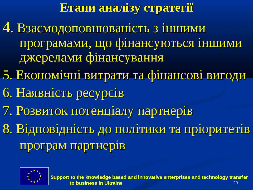 * Етапи аналізу стратегії 4. Взаємодоповнюваність з іншими програмами, що фін...