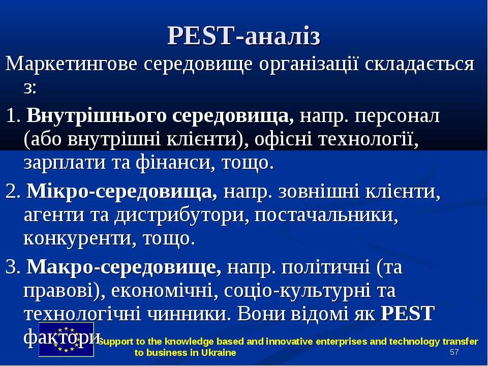 * PEST-аналіз Маркетингове середовище організації складається з: 1. Внутрішнь...