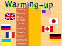 Country Language The USA Great Britain Japan Russia Canada France Germany Ukr...
