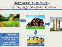 Лексичне значення – це те, що означає слово ДІМ - будівля, призначена для жит...