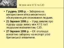 Зв'язок між КГЕ та CJD Грудень 1995 р. – Заборона на використання м'яса механ...