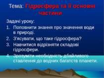 Тема: Гідросфера та її основні частини Задачі уроку: Поповнити знання про зна...
